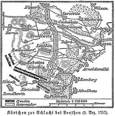 Karte der Schlacht von Leuthen (1757)